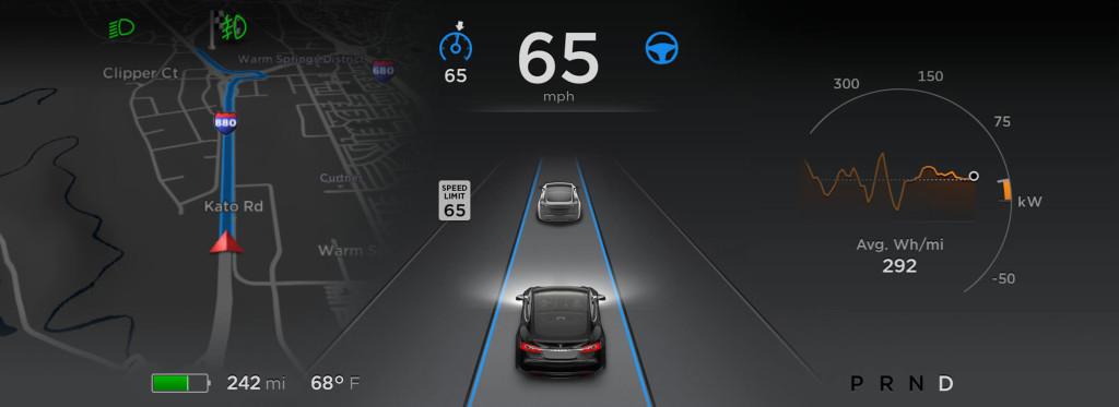 панель приборов автомобиля tesla
