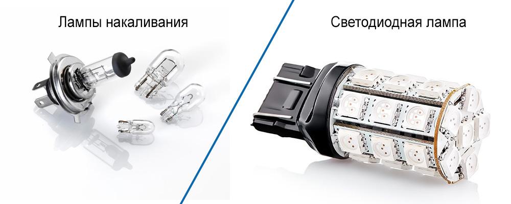 лампы накаливания и светодиодная