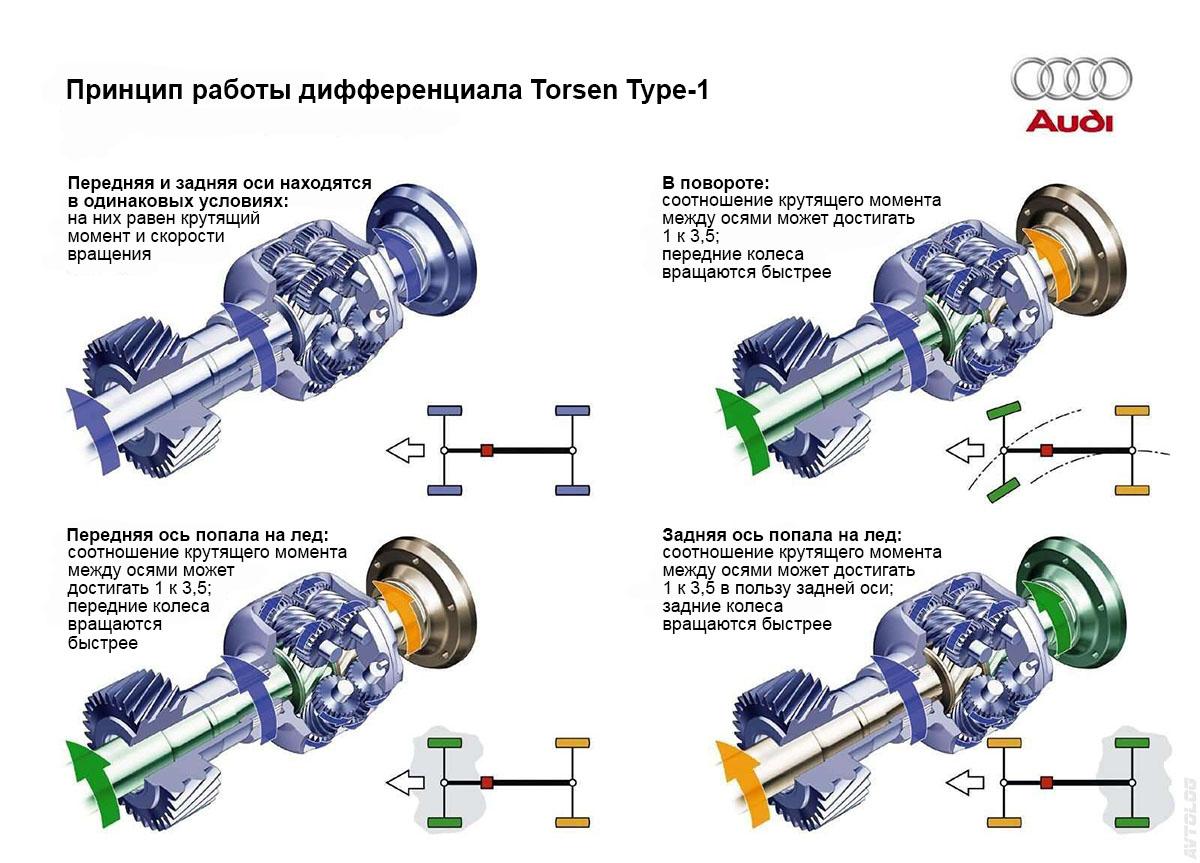 принцип работы дифференциала torsen
