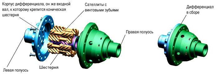 устройство дифференциала torsen t2