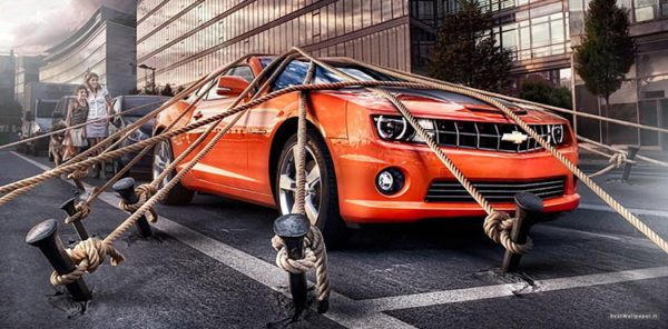 привязанный к земле автомобиль