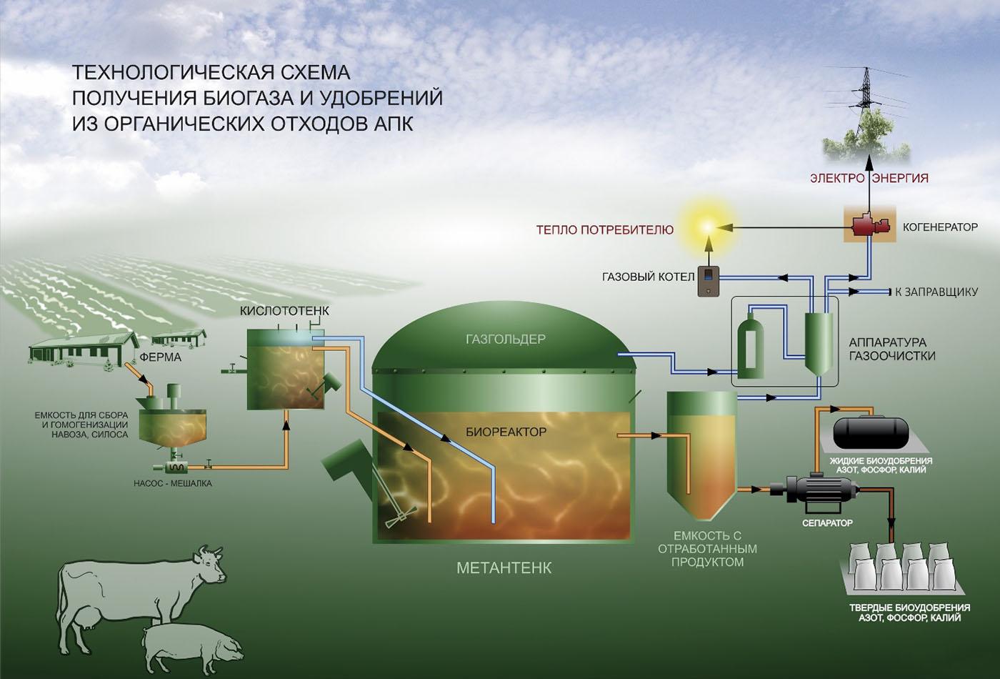 схема завода биогаза